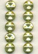 13mm Soft Green Pearl Glass Beads