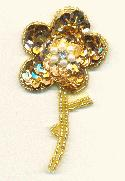 3 1/4'' x 1 7/8'' Gold Flower Applique