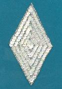 5 5/8'' X 3 1/32'' White Diamond Applique