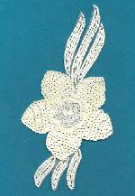 7 5/16'' x 3 1/2'' White AB Applique