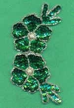 5 1/2'' x 2 3/4'' Green Flower Applique