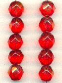 12mm AB Lt Siam Ruby Fancy Glass Beads