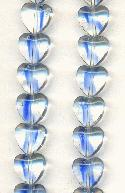9.6x10mm Clear/Blue Glass Heart