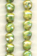 11.5x10mm Ceramic Tan/Green Beads