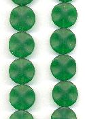 17.5mm Frosted Emerald Wavy Round Beads