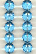 14mm Aqua Faceted Beads