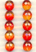 14mm Topaz/Orange Ombre Faceted Beads