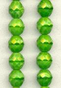12mm Lime Green Fiberoptic Faceted Bead