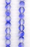 6mm Czech Faceted Sapphire/Frosted Beads