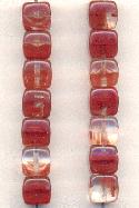 7mm Clear/Carnelian Glass Cube Beads