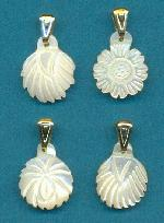 14x11mm Mixed Floral Shell Pendants