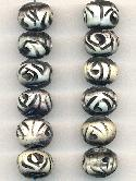 10mm Mixed Black/White Carved Bone Beads