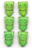 28x19mm Green Magnesite Owl Beads