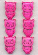 28x19mm Hot Pink Magnesite Owl Beads