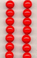 10mm Cherry Red Pressed Glass Beads