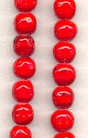 10mm Cherry Red Baroque Glass Beads