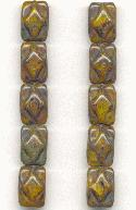 12.5x8.5mm Picasso Rectangular Beads