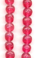 10mm Dark Pink Baroque Glass Beads
