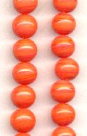 10mm Light Coral Pressed Glass Beads