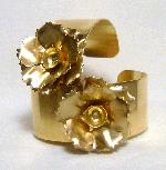1-1/8'' Brass Cuff with Flower and 45ss