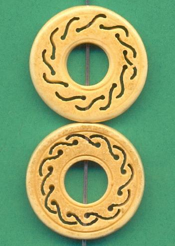 23mm Carved Bone Disk Bead Jan S Jewelry Supplies