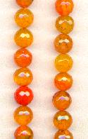 8.35mm Faceted Orange Agate Beads