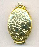 35x20mm Gold Oval Folding Locket