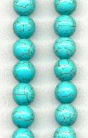 10mm Turquoise Dyed Magnesite Beads