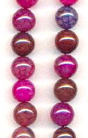 10mm Fire Crackle Agate Dyed Beads