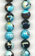 10mm Blue/Black Dyed Agate Beads