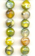 10mm Green/White Dyed Fire Agate Beads