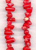 16'' Strand of Coral Red Chip Beads
