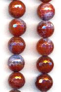 12mm Amber/Purple/Blue Faceted Agate