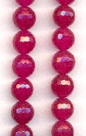 10mm Magenta Faceted Fire Agate Bead
