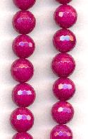 10mm Opaque Magenta Faceted Agate Bead
