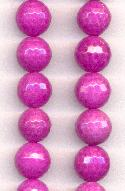 12mm Dark Pink Fire Crackle Agate Beads