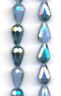 12x8mm Milky Blue/Luster Faceted Beads