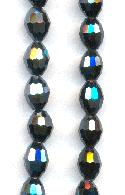 5.5x4mm Hematite Faceted Glass Beads
