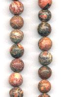 8mm Red Leopard Jasper Beads