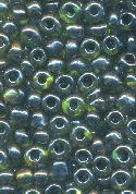 06/0 Black Lined Green/Silver Seed Beads