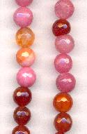 8mm Pink/Amber Faceted Druzy Agate Beads