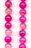 8mm Fuschia Crackle Agate Beads