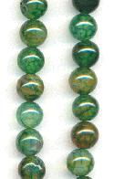 8mm Dark Green Crackle Agate Beads