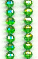 7mm Chinese Peridot/Luster Faceted Beads