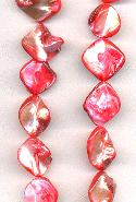 15'' Str Coral Dyed Mother-of-Pearl Beads