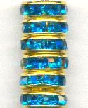 3.75x10mm Gold and Zircon RS Rondelles