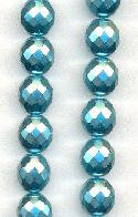 12.5mm Aqua Pearl Coated Czech Beads