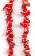 35'' Strand of Dark Red Coral Chip Beads