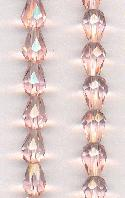 8x6mm Pink Faceted Pear Glass Beads