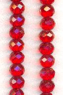 10x8mm Siam Ruby Faceted Glass Beads